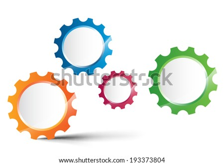 Abstract gear wheels. Vector design template on white background  - stock vector