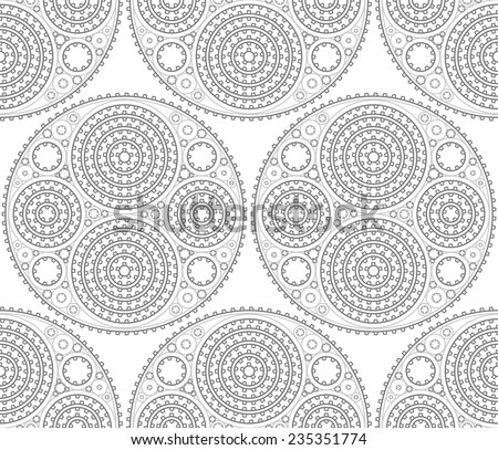 Abstract gears seamless pattern. Easy to use pattern added to swatch