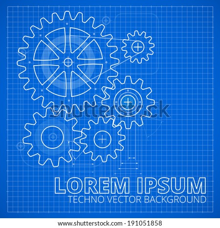 Abstract gears, technology background. Blueprint style vector illustration - stock vector