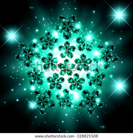 Abstract Gemstone Bright Explosion Background With Stars - stock vector