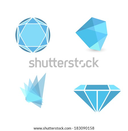 Abstract Gemstone Sign Collection Over White Background - stock vector