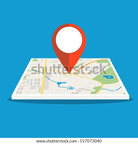Abstract generic city map with roads, buildings, parks and river. City Map With red Marker pin, Vector illustration in flat design