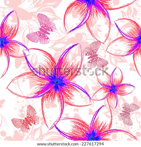 Abstract gentle floral background. Tropical flowers pencil. Seamless background. Vector  - stock vector