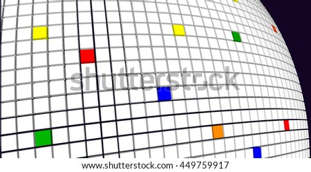 Abstract geometric arched field with colored buttons 3d background for design. Vector illustration.