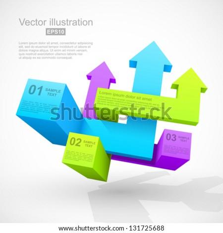 Abstract geometric arrows 3D. - stock vector