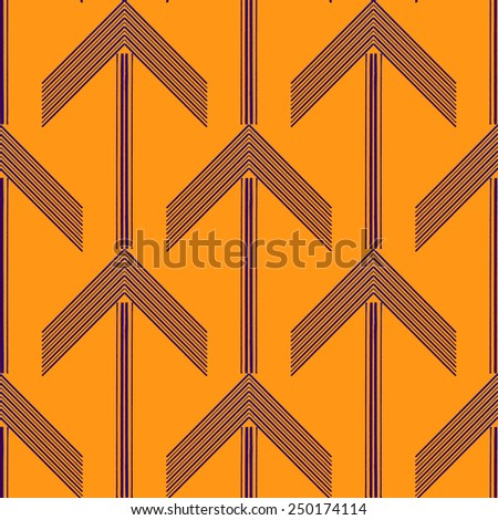 Abstract Geometric Art Deco Arrow Seamless Pattern on orange background. Vintage style texture. Cloth design. Can be used for wallpaper, pattern fills, web page background and surface textures.  - stock vector