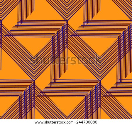 Abstract Geometric Art Deco Curved Arrow Seamless Pattern On Orange Background Vintage Style Texture