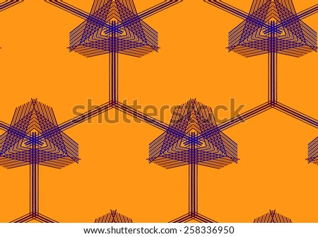 Abstract Geometric Art Deco Flower & Mesh Seamless Pattern on orange background. Vintage style texture. Cloth & rug design. Used for wallpaper, pattern fills, web page background & surface textures.