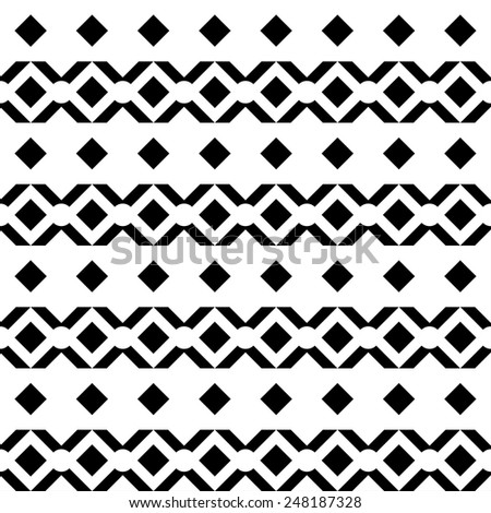 Abstract geometric aztec seamless pattern. Tribal art monochrome background texture  - stock vector