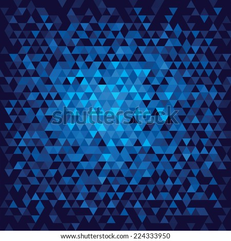 Abstract geometric background. Blue triangles. Vector illustration - stock vector