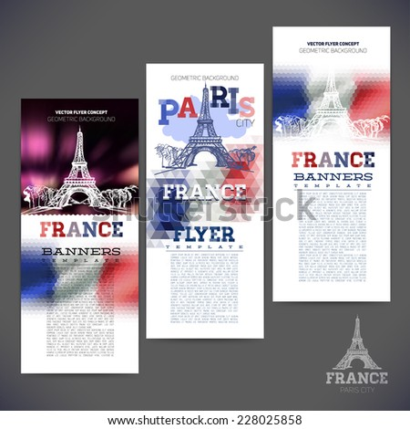 Abstract geometric background flag of France, with a sketch picture paris The Eiffel Tower. Design of banners,flyers,leaflets, brochures. - stock vector