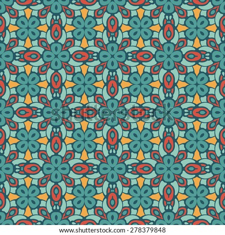 Abstract geometric background. Mosaics tiled retro vintage vector seamless pattern - stock vector