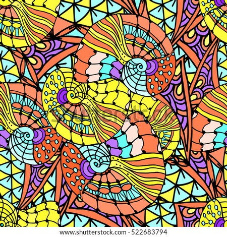 Abstract geometric background of colorful Doodle patterns