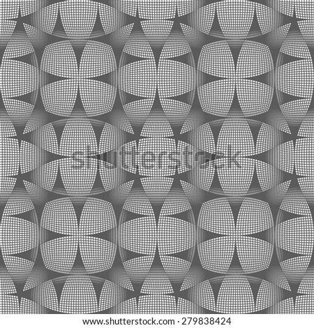 Abstract geometric background of intersecting curves. Mesh figures similar to pattern spirograph. The dark lines on a light background. Seamless vector pattern. - stock vector