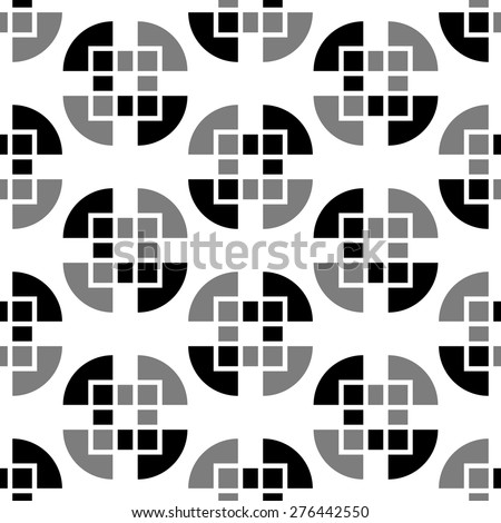 Abstract, geometric background, 1960s, 1970s, 1980s trendy seamless pattern, black and white fabric, retro style cute wrapping paper for design - stock vector