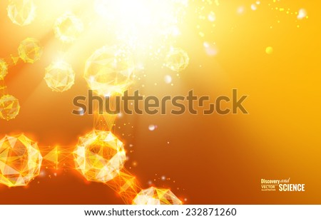 Abstract geometric background. Science atoms and molecules. Vector illustration. - stock vector
