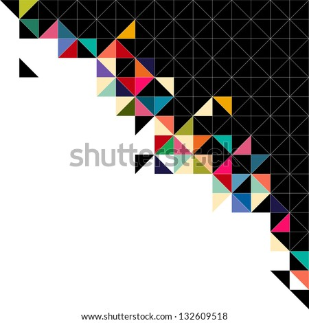 Abstract, geometric background, triangle and square, black - stock vector