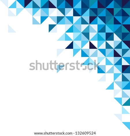 Abstract, geometric background, triangle and square, blue - stock vector