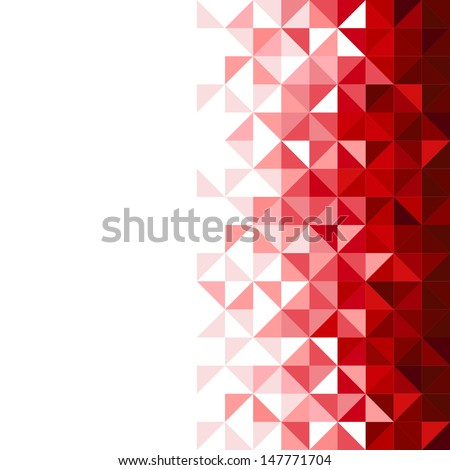 Abstract, geometric background, triangle and square, red - stock vector