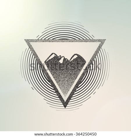 Abstract geometric background. Vector illustration engraving. mountains contour - stock vector