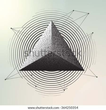 Abstract geometric background. Vector illustration engraving. triangle - stock vector