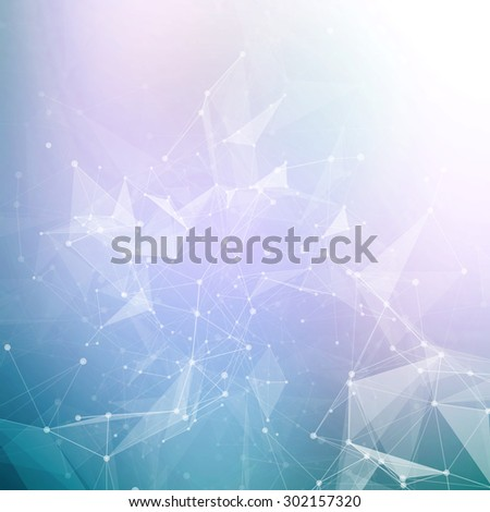 Abstract geometric background. Wireframe mesh polygonal background. Abstract form with connected lines and dots. Abstract polygonal low poly dark background with connecting dots and lines.  - stock vector