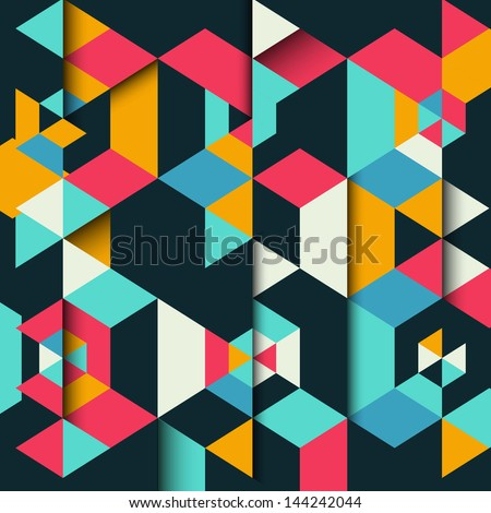 Abstract geometric background with a 3D effect - stock vector