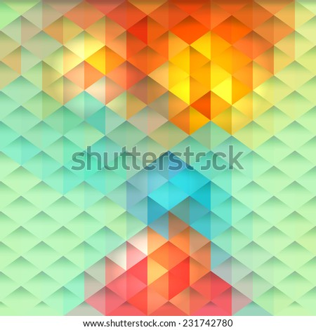 Abstract geometric background with bright colored polygonal pattern  - stock vector