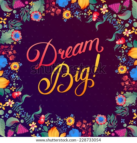 "Abstract Geometric Background with Calligraphy quote ""Dream Big"", vector design. - stock vector"