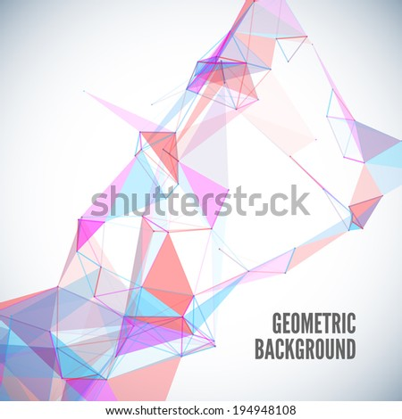 Abstract geometric background with circles, lines, triangles and shapes - stock vector