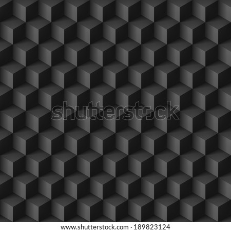 Abstract geometric background with cubes in black - stock vector