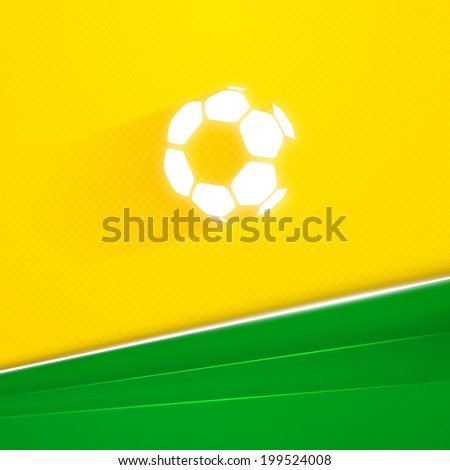 Abstract geometric background with flying soccer ball over green grass on yellow blurry backdrop. Vector illustration on football theme - stock vector