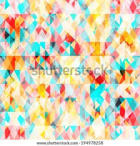Abstract geometric background with grunge texture - stock vector