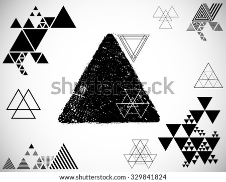 Abstract Geometric Background With Many Different Triangles in Hipster and Grunge Style . Vector Design Layout for Posters , Brochures . Triangle Pattern Background. Modern Geometrical Template.  - stock vector