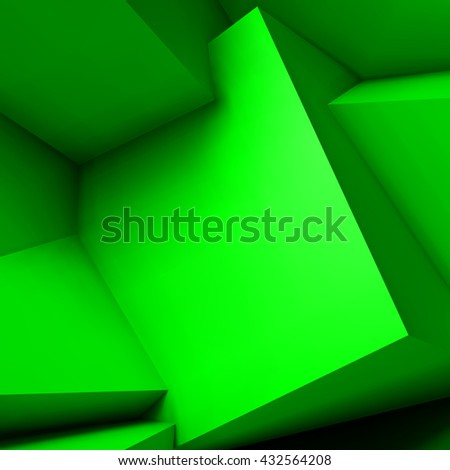Abstract geometric background with realistic overlapping green cubes - stock vector