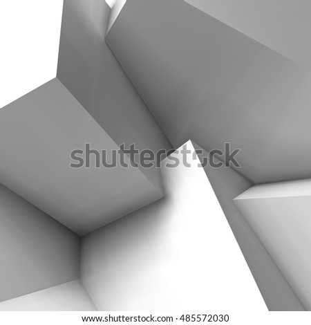 Abstract geometric background with realistic overlapping white cubes