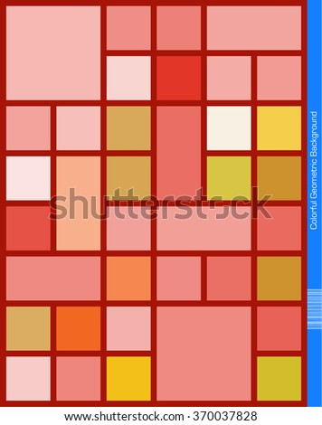 Abstract geometric Background with red frame. - stock vector