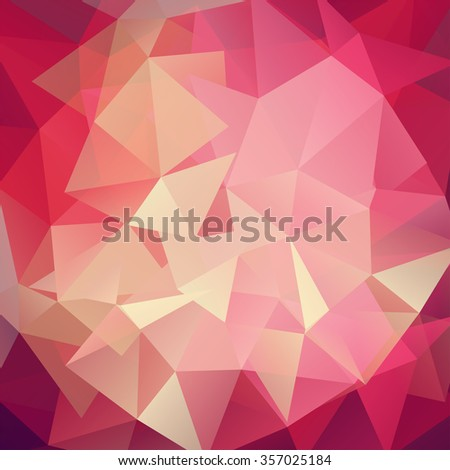 Abstract geometric background with triangles. Red, pink colors.  Modern and trendy geometric pattern.  Vector illustration - stock vector