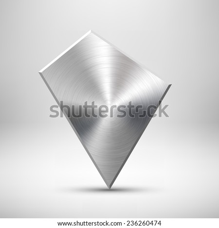 Abstract geometric badge, blank button template with metal texture (chrome, silver, steel), realistic shadow and light background for user interfaces, UI, applications and apps. Vector illustration. - stock vector