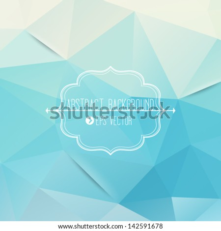 Abstract geometric blue background with frame and arrows - stock vector