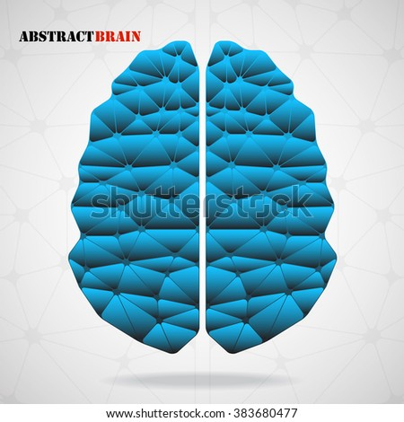Abstract geometric brain, network connections. Vector illustration. Eps 10