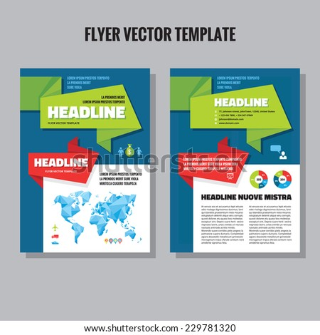 Abstract geometric brochure vector template. Flyer vector template. Infographic elements. Abstract world map in origami polygonal style included.  - stock vector
