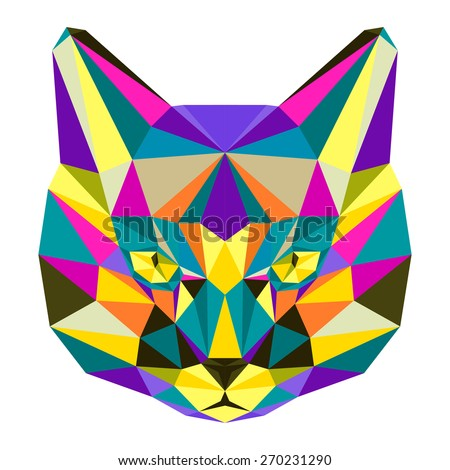 Abstract geometric cat portrait. Graphic polygonal cat. Cat isolated on white cover painted in imaginary motley colors for use in design card, invitation, poster, book. Nature, animal, wildlife theme. - stock vector