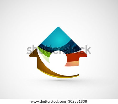 Abstract geometric company logo home, house, building. Vector illustration of universal shape concept made of various wave overlapping elements - stock vector