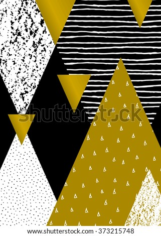 Abstract geometric composition in black, white and gold. Hand drawn vintage texture, dots pattern and geometric elements. Modern and stylish abstract design poster, cover, card design. - stock vector