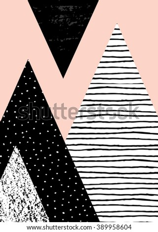 Abstract geometric composition in black, white and pastel pink. Hand drawn vintage texture, dots pattern and geometric elements. Modern and stylish abstract design poster, cover, card design. - stock vector