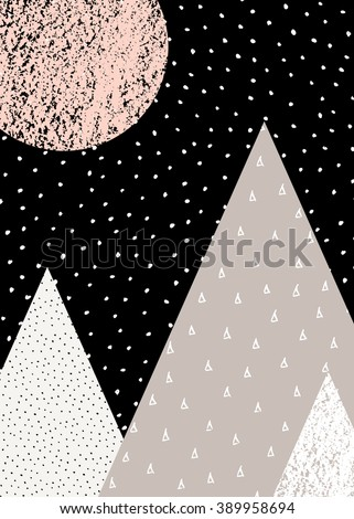 Abstract geometric composition in black, white, taupe and pastel pink. Hand drawn vintage texture, dots pattern and geometric elements. Modern and stylish abstract design poster, cover, card design. - stock vector