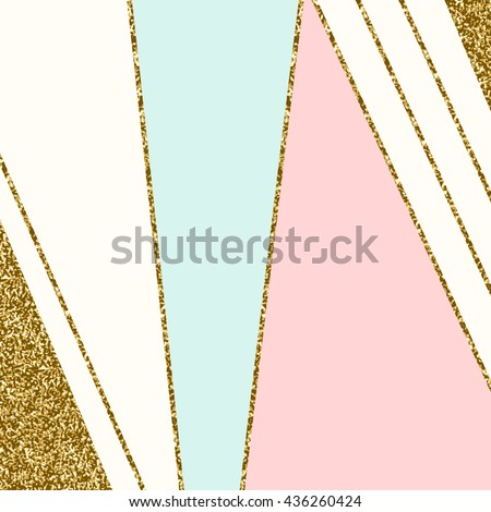 Abstract geometric composition in light blue, cream, gold glitter and pastel pink. Modern and stylish abstract design poster, cover, card design.