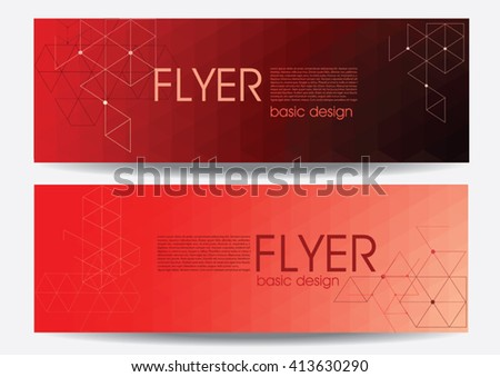 Abstract geometric composition with red triangles. Business card, flyer, correspondence letter. Corporate Identity, Advertising printing. Vector illustration - stock vector