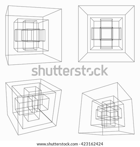 Abstract  geometric cubes on white background. - stock vector